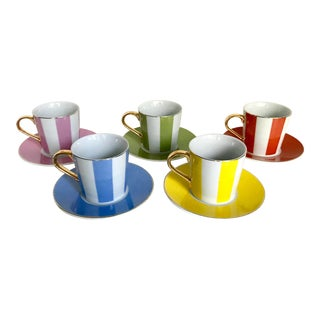 Casati Fine Porcelain Tea Cups and Plates - Set of 5 For Sale