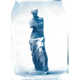 Venus de Milo Low-Poly Sculpture, Cyanotype Print on Watercolor Paper For Sale