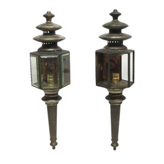 Early 20th Century Old Carriage Lanterns - a Pair For Sale