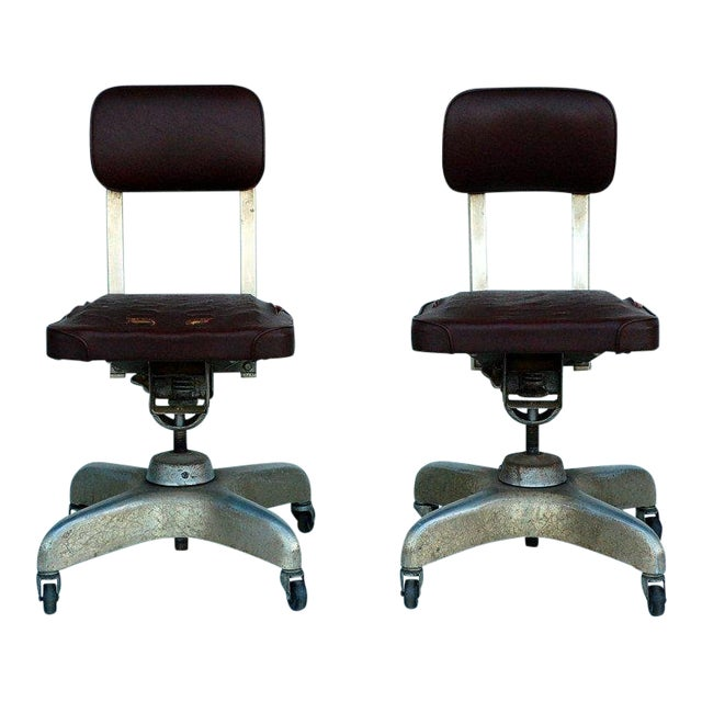Pair of Aged Industrial Office Swivel Chairs For Sale