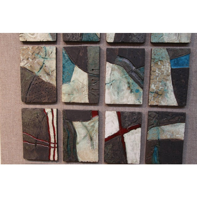 Mid 20th Century 20 Unique Tiles Mounted as a Wall Sculpture For Sale - Image 5 of 10