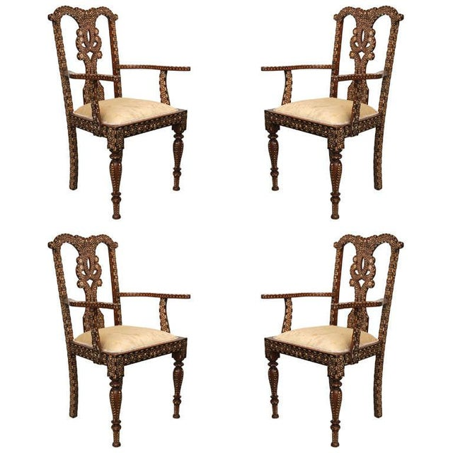Rare Set of Four Anglo-Indian Hardwood and Bone Inlaid Armchairs For Sale - Image 11 of 11