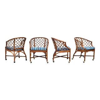 Chinoiserie Chinese Chippendale Rattan and Caned Barrel Chairs on Casters, Pair For Sale
