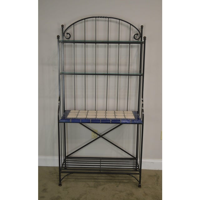 Traditional Quality Hand Forged Iron Bakers Rack With Tile Shelf For Sale - Image 3 of 9