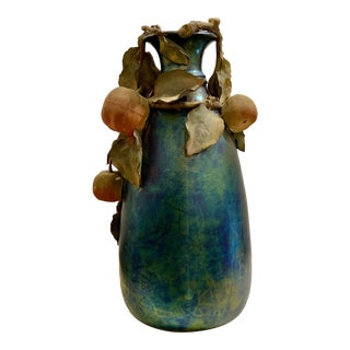 1910's Blue Iridescent Glass Vase With Pottery Fruits For Sale