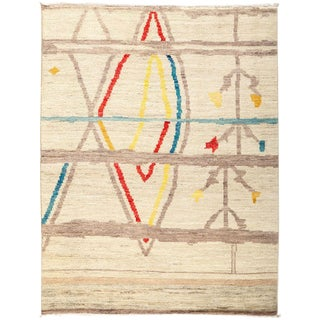 """Moroccan, Hand Knotted Area Rug - 4' 7"""" x 5' 9"""" For Sale"""