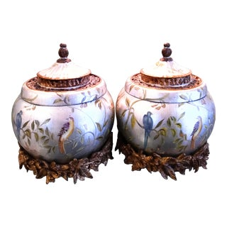 Very Large Ginger Jar Style Chinoiserie Bird Chelsea House Style Decorative Room Accents- a Pair For Sale