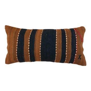 Black and Coffee Stripe Kilim Lumbar Pillow For Sale