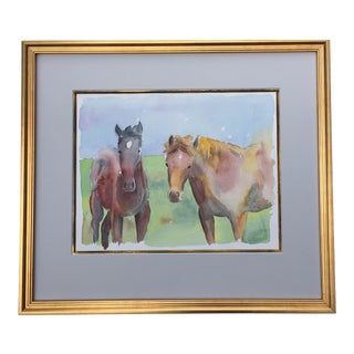 1980s Logan Payne Pasture Ponies Watercolor Painting For Sale