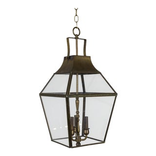 Mid Century Geometric Brass Finished Neoclassical Lantern For Sale