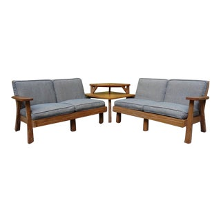 Brandt Ranch Oak Sectional Sofa Lounge Chairs & End Table For Sale