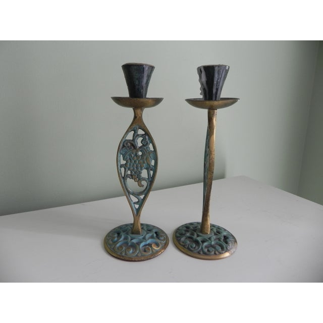 Traditional 1970s Brass Candle Holders With Verdigris - A Pair For Sale - Image 3 of 4