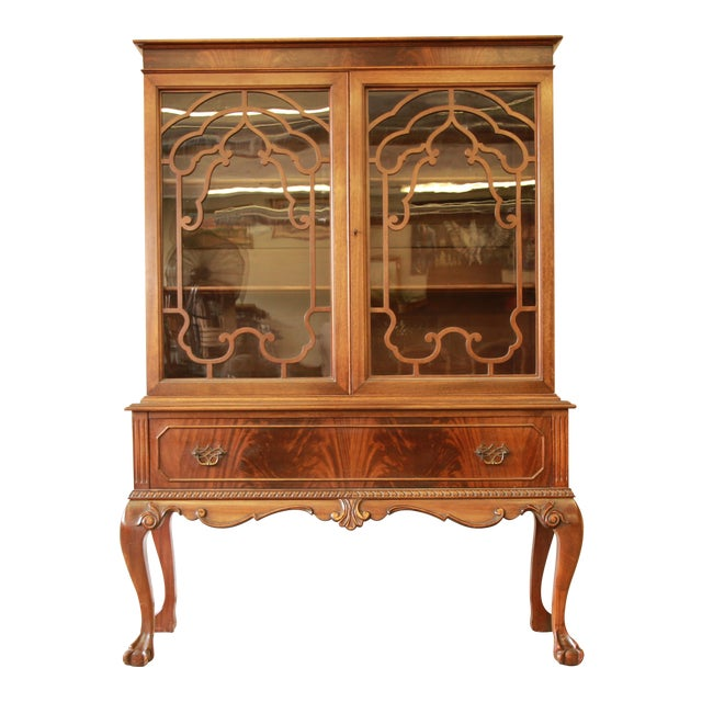 Antique French Chippendale Mahogany Cabinet For Sale