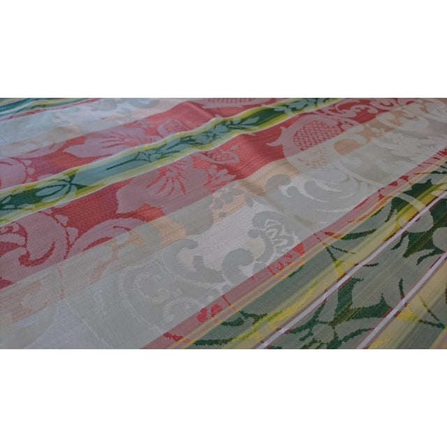 Scalamandre Tarantella Orange and Green Stripe Silk Fabric - 67 Yards - Image 2 of 4