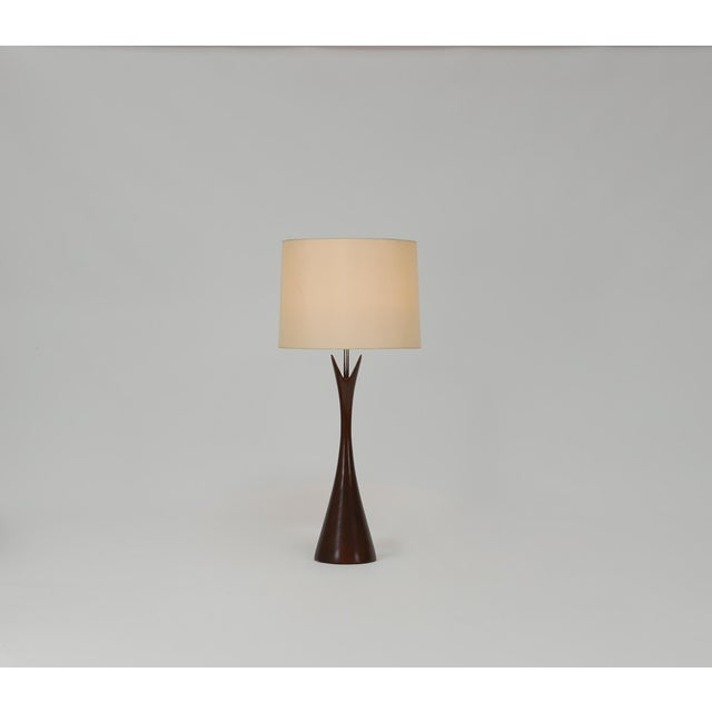 """Pair of Turned Walnut Hourglass Form Lamps by Laurel. 7"""" Wide at Base, Original Brass Finials."""