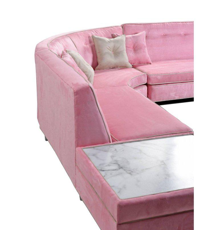 Pink Mid Century Modern Sectional Sofa U0026 Coffee Table Set   Image 2 ...