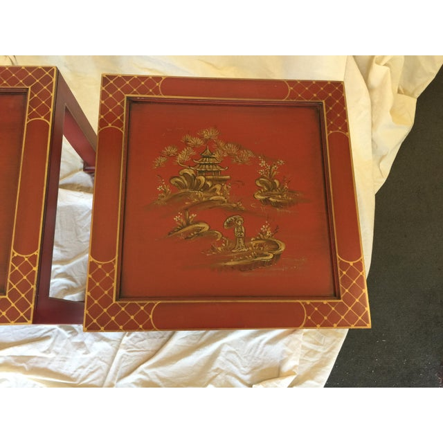 Red Hand Painted Chinoiserie Tables Signed Retha For Sale - Image 8 of 9
