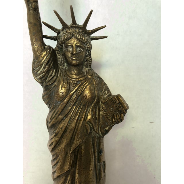 Vintage Brass Statue of Liberty Lamp For Sale - Image 5 of 6