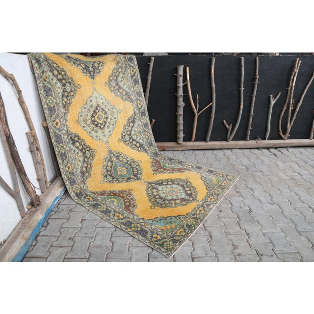 1960's Vintage Turkish Hand-Knotted Wide Long Runner-4′7″ × 12′10″ For Sale - Image 10 of 11