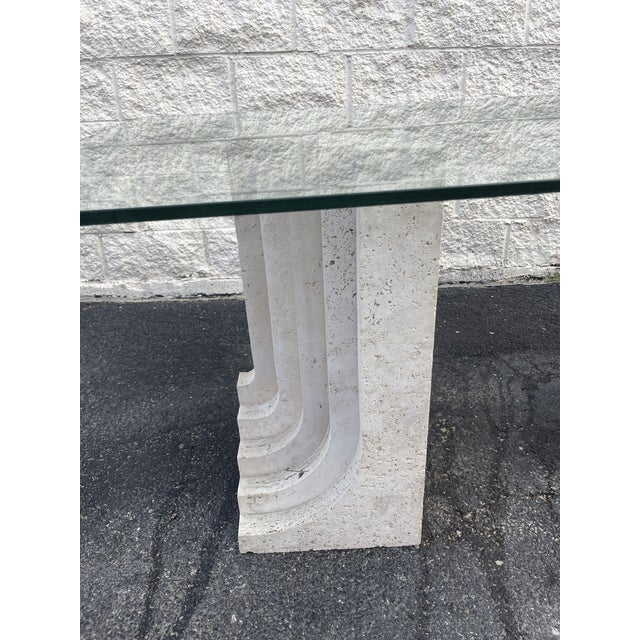 Art Deco Tobia Scarpa Style Italian Travertine and Glass Dining Table For Sale - Image 3 of 5