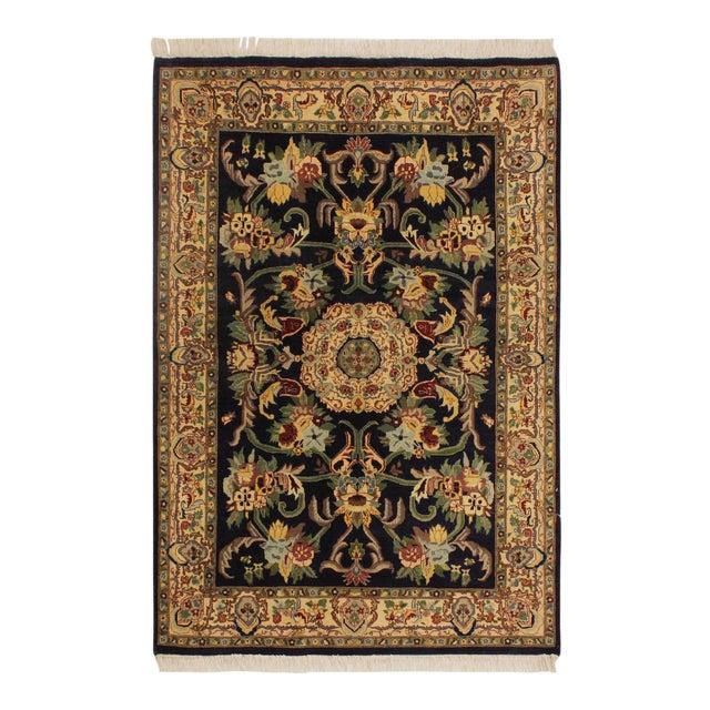 Art Nouveau 1980's Anarkali Pak-Persian Steven Blue/Ivory Wool Rug - 4'1 X 6'1 For Sale