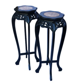 """Chinoiserie Pedestal Stand Carved Wood Display with Marble Top 36"""" - a Pair For Sale"""