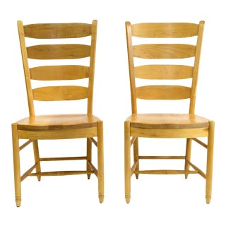 American Ladderback Style Side Chairs With Light Wood Finish - a Pair