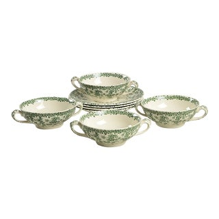 Crown Ducal Early English Ivy Green Footed Cream Soup Bowl - Set of 4 For Sale