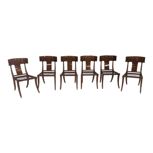 Mid-Century Klismos Style Dining Chairs - Set of 6 For Sale