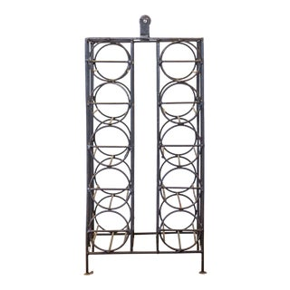Mid-Century Metal Wine Rack With Wooden Handle For Sale