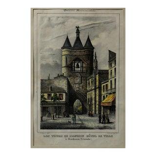Lithograph Titled Les Tours De l'Ancien Hotel De Ville, a Bordeaux, (Gironde) For Sale