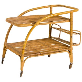 Vittorio Bonacina, Servant Bar, Bamboo, Italy, Circa 1940 For Sale