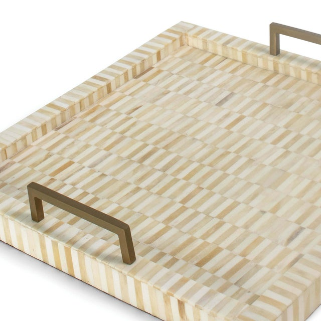 Not Yet Made - Made To Order Nevis Square Multi-Tone Bone and Brass Tray For Sale - Image 5 of 6