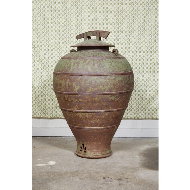 Early 20th Century Urn Shaped Clay Jar With Lid, Stamped For Sale - Image 5 of 10