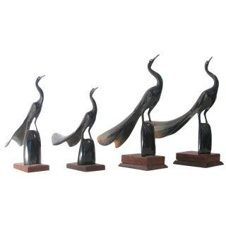 Artisan-Carved Natural Horn Bird Scuptures, Set of 4 For Sale