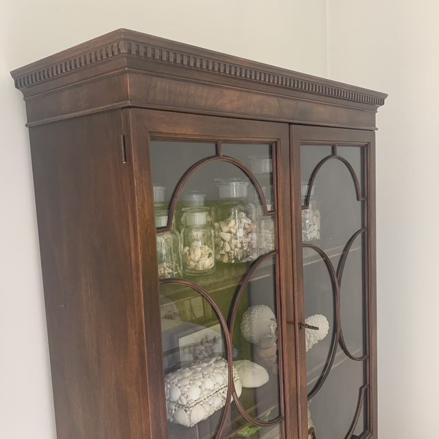 Brown Antique Mahogany China Display Cabinet For Sale - Image 8 of 13