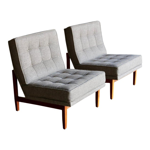 Mid Century Florence Knoll Slipper Lounge Chairs - a Pair For Sale