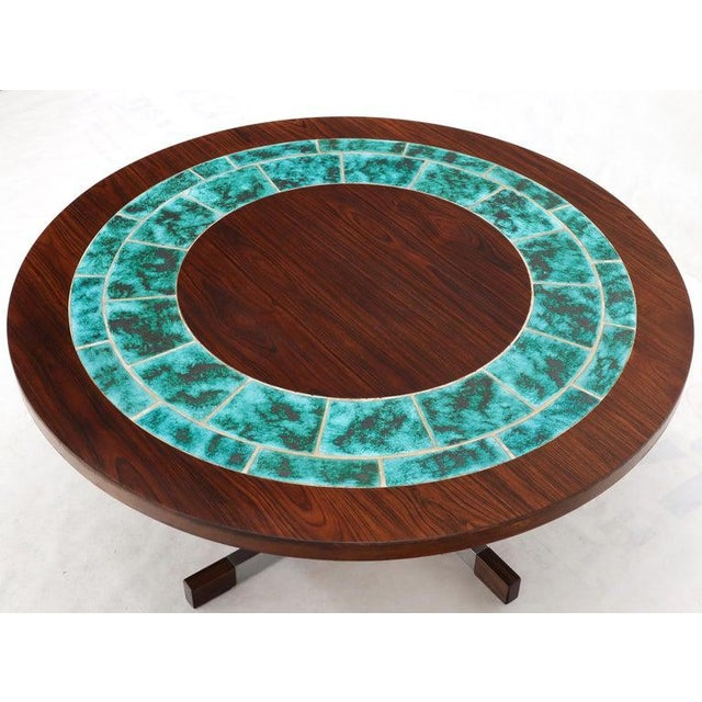 Art Tile Top Rosewood Cone Shape Base Round Coffee Table For Sale - Image 4 of 10