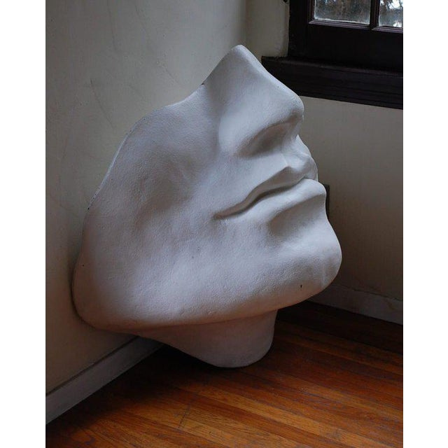 This listing is for an unusual large faux plaster face sculpture.
