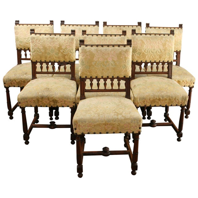 Antique 1900 French Dining Chairs - Set of 8 - Image 1 of 8