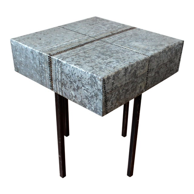Rustic Nail Detail Metal Table For Sale