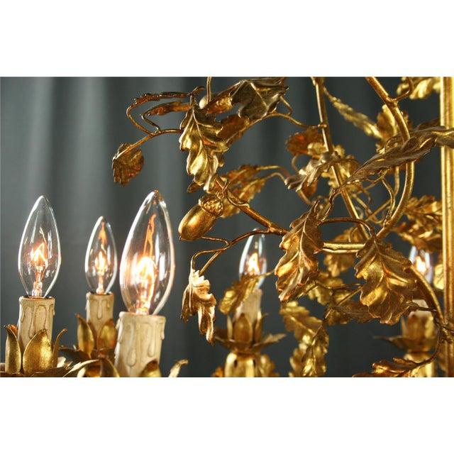 Italian Golden Metal Chandelier For Sale - Image 4 of 8