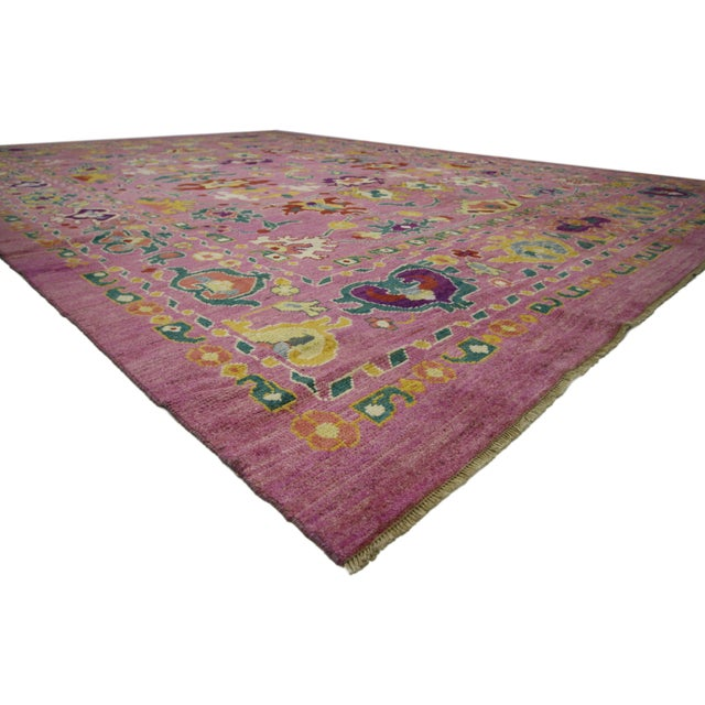 "20th Century Vintage Turkish Oushak Rug - 12' X 16'10"" For Sale - Image 4 of 9"