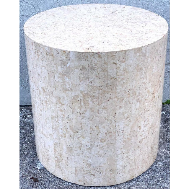Modern Late 20th Century Modern Tessellated Stone Pedestal by Maitland-Smith For Sale - Image 3 of 8