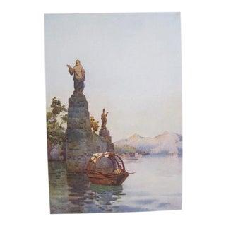1905 Original Italian Print - Italian Travel Colour Plate - Entrance to the Villa Arconati, Lago DI Como For Sale