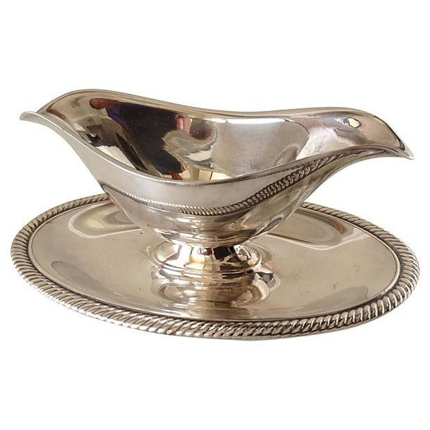 Silverplate Gravy Boat With Attached Underplate - Image 2 of 4