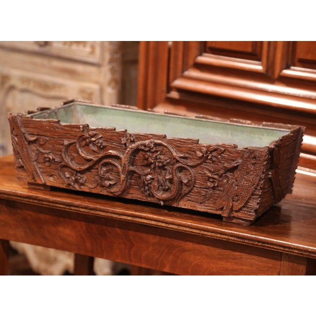 19th Century French Black Forest Carved Walnut Jardiniere With Zinc Liner For Sale - Image 4 of 9