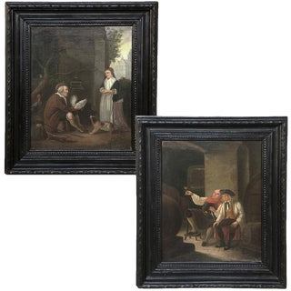 Pair 19th Century Framed Oil Paintings on Canvas by I. Gorius For Sale