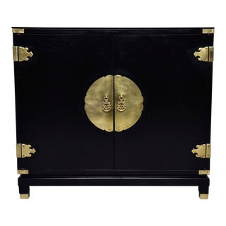 Mid Century Black Asain Style Side Cabinet For Sale