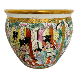 Asian Fish Bowl Planter Medallion Rose Birds Geishas For Sale